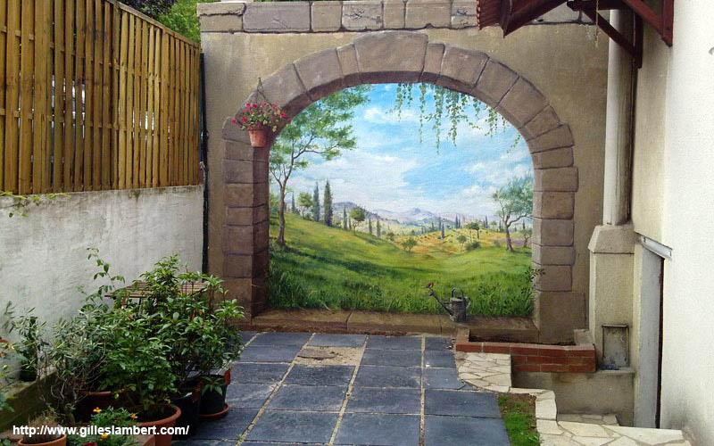 On pinterest murals wall murals and wallpaper murals - Trompe l oeil exterieur ...
